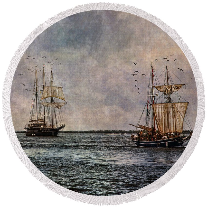 Tall Ships Round Beach Towel featuring the photograph Tall Ships by Dale Kincaid