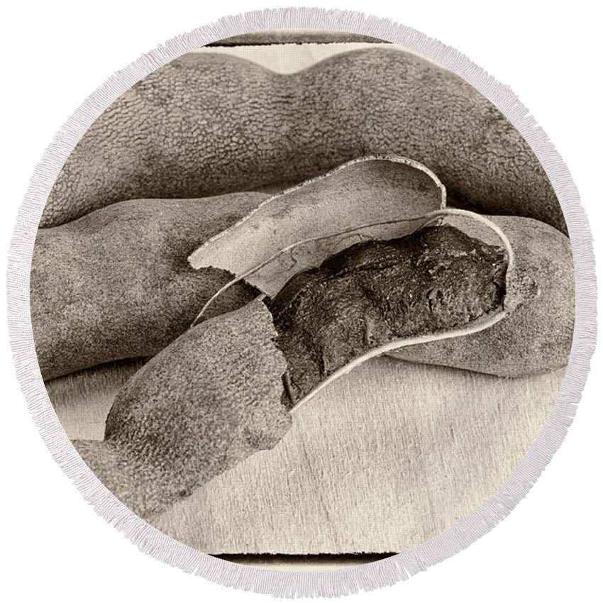 Brown Seed Pod Round Beach Towel featuring the photograph Tamarindo Whole Sepia by Iris Richardson