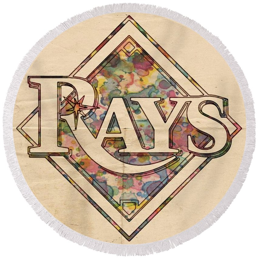 Tampa Bay Rays Round Beach Towel featuring the painting Tampa Bay Rays Vintage Art by Florian Rodarte