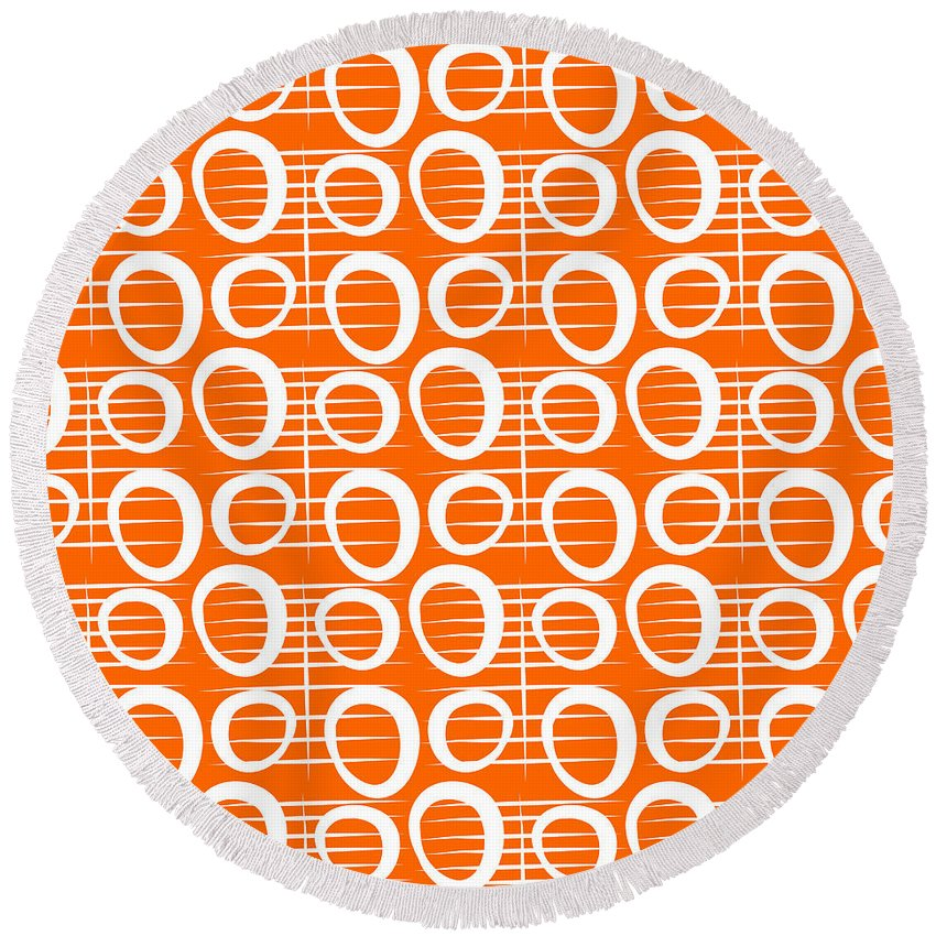 Abstract Round Beach Towel featuring the painting Tangerine Loop by Linda Woods