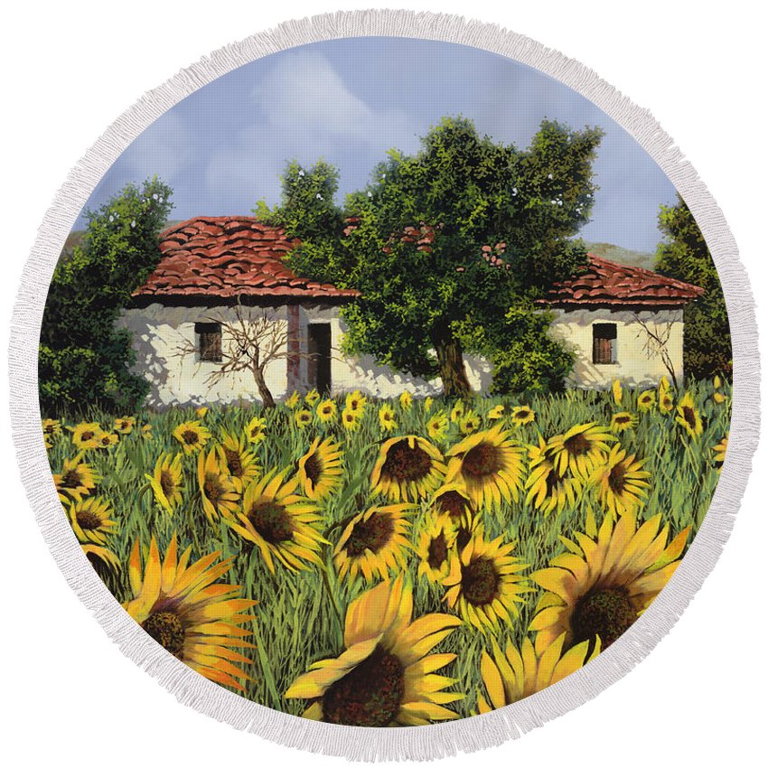 Tuscany Round Beach Towel featuring the painting Tanti Girasoli Davanti by Guido Borelli