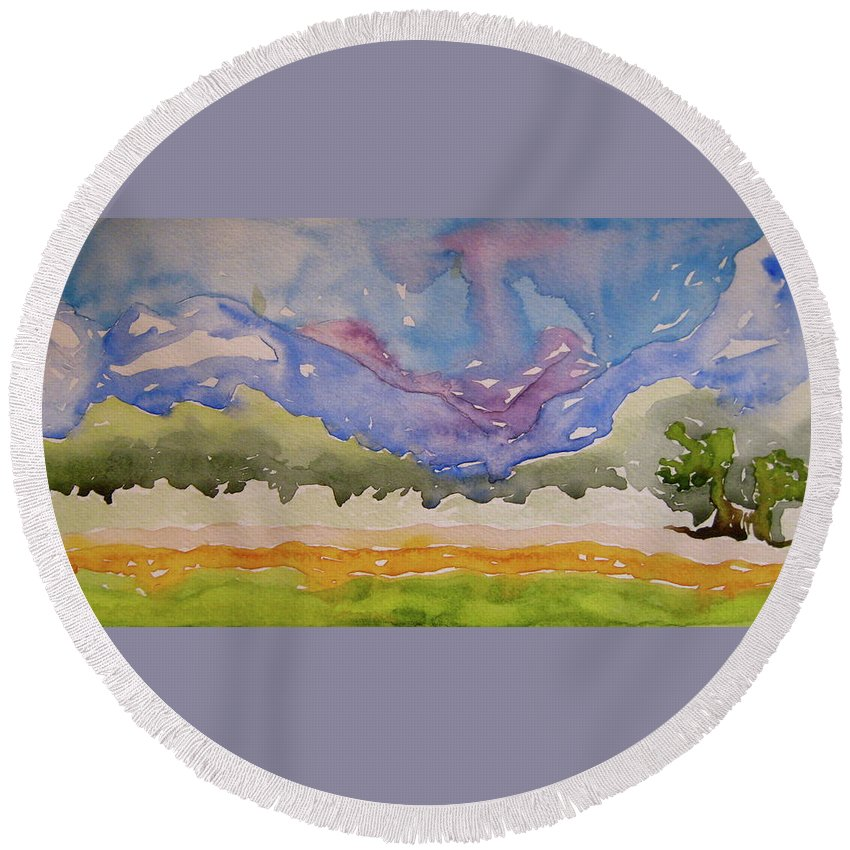 Landscape Round Beach Towel featuring the painting Taos Fields by Beverley Harper Tinsley
