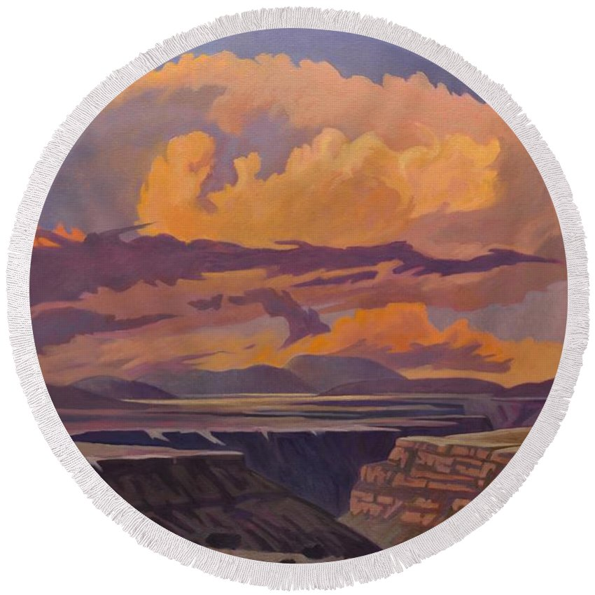 Taos Round Beach Towel featuring the painting Taos Gorge - Pastel Sky by Art James West