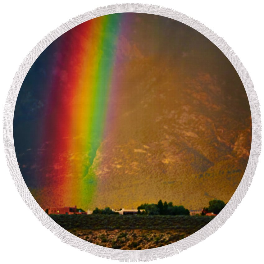 Vivid Round Beach Towel featuring the photograph Taos Magic by Charles Muhle