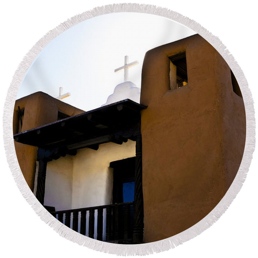 New Mexico Round Beach Towel featuring the photograph Taos Pueblo Church 2 by Marilyn Hunt
