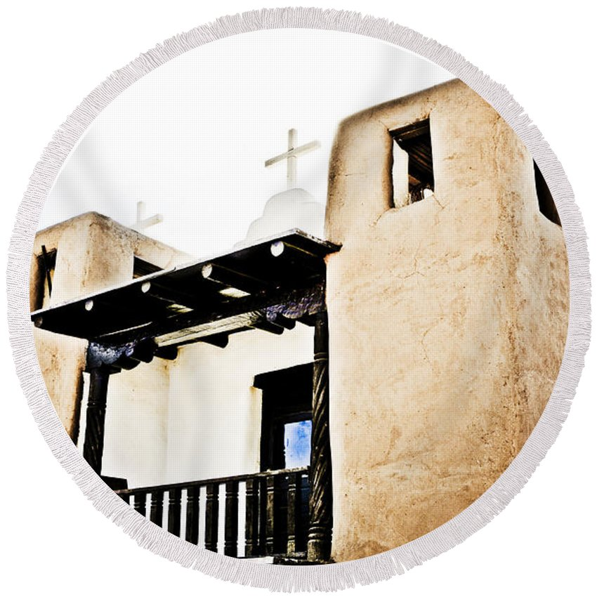 New Mexico Round Beach Towel featuring the photograph Taos Pueblo Church 3 by Marilyn Hunt
