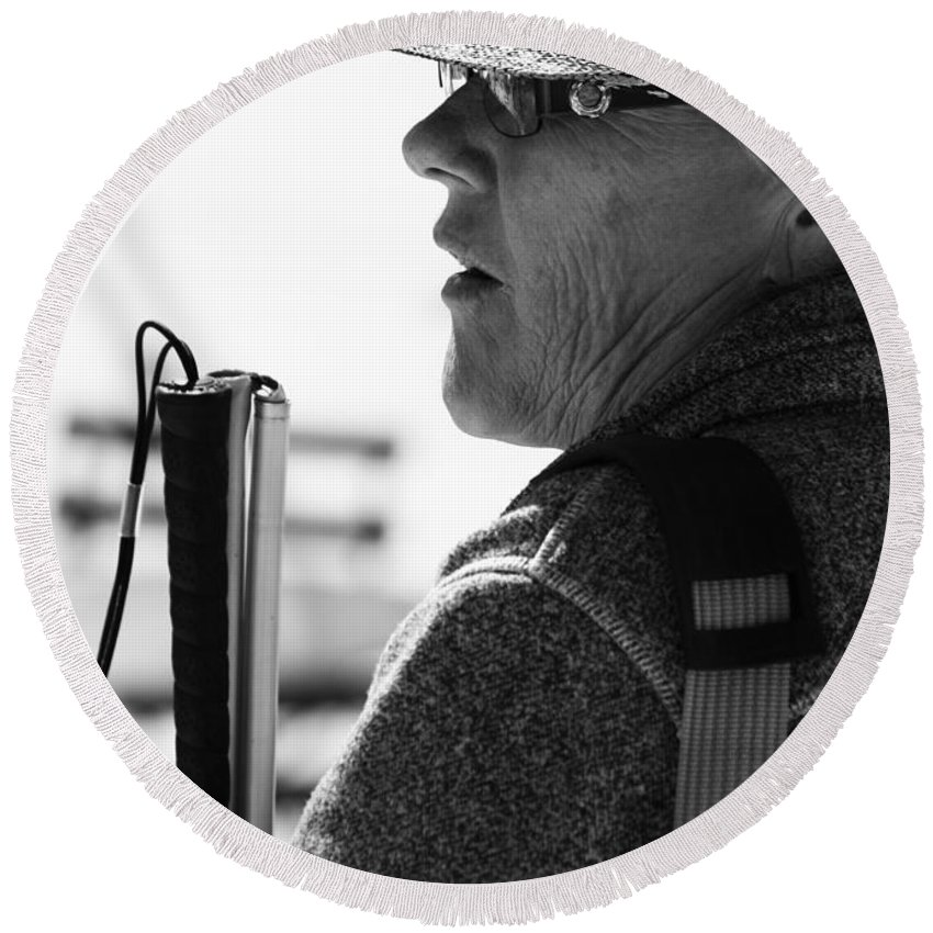 Street Photography Round Beach Towel featuring the photograph Tap And Stare by The Artist Project