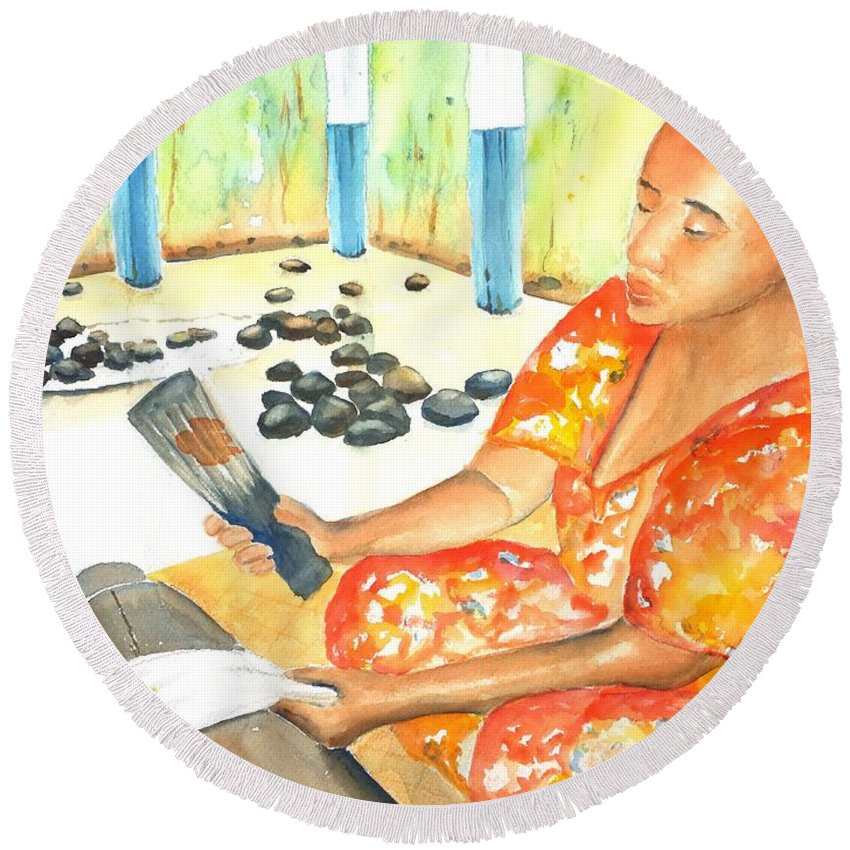 Woman Round Beach Towel featuring the painting Tapa Stretch by Carlin Blahnik CarlinArtWatercolor