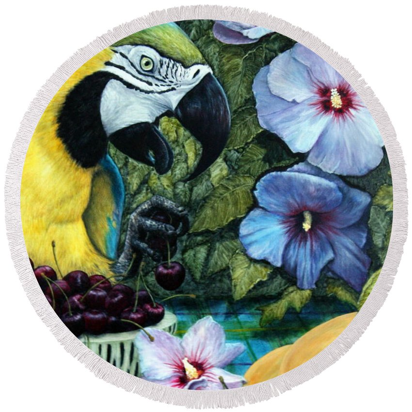 Macaw Round Beach Towel featuring the painting Tapestry by Joey Nash