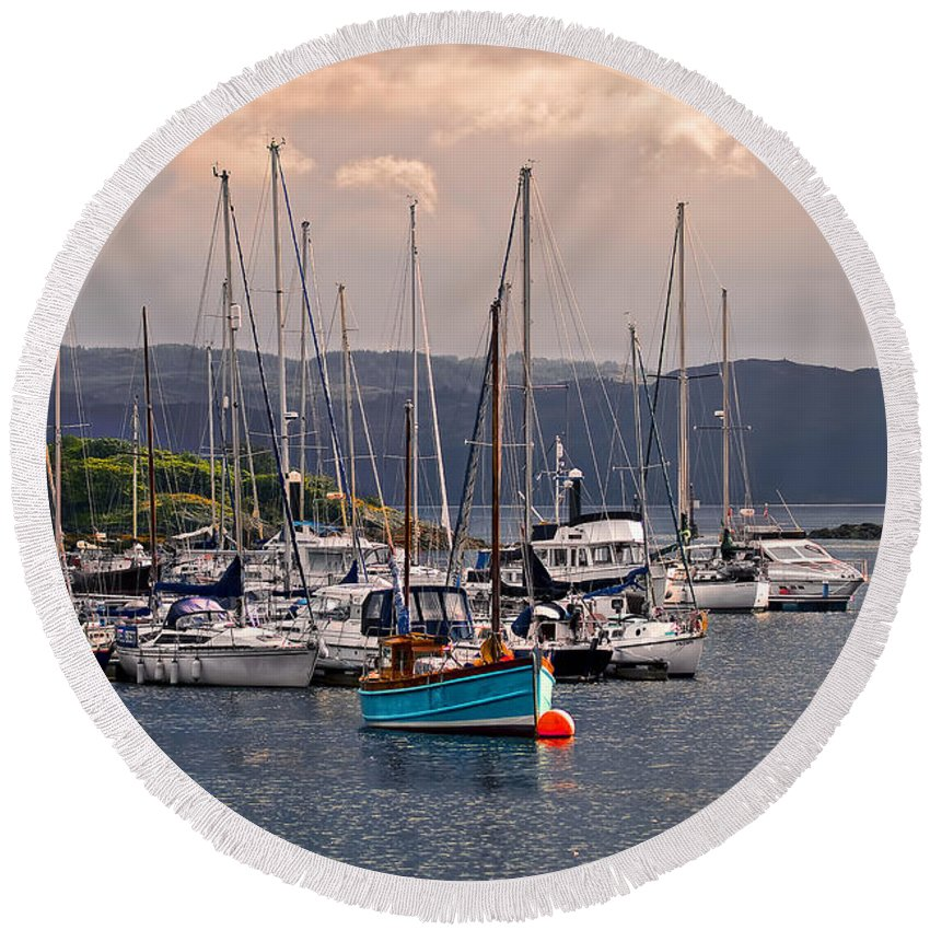 Landscape Round Beach Towel featuring the photograph Tarbet Harbor At Sunrise by Marcia Colelli