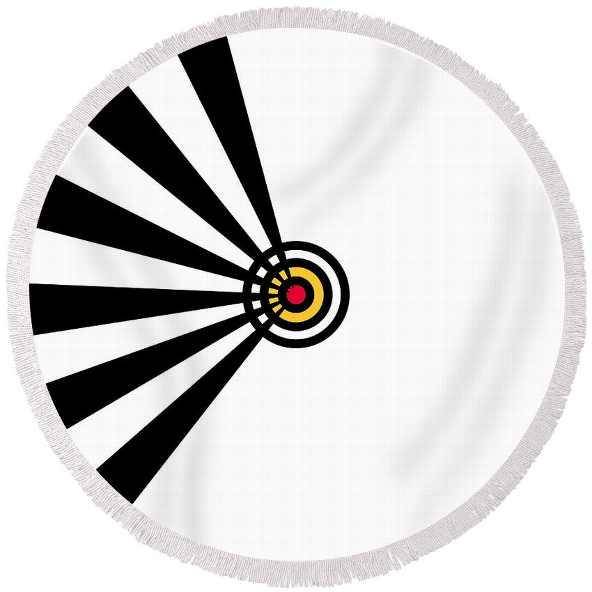 Black White Red Yellow Arrow Lines Target Expressionism Digital Art Abstract Round Beach Towel featuring the painting Target by Steve K