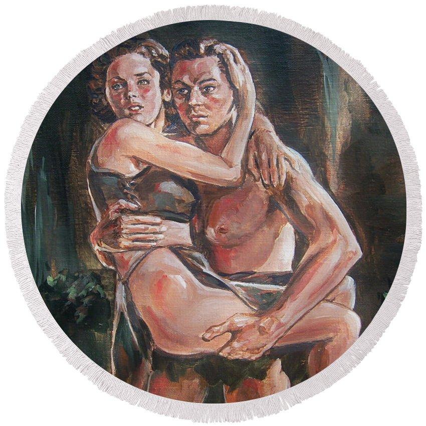 Tarzan Round Beach Towel featuring the painting Tarzan And His Mate by Bryan Bustard