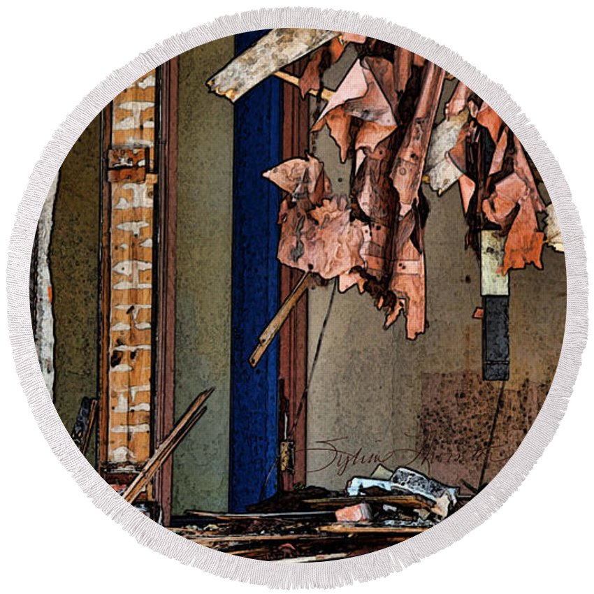 Window Round Beach Towel featuring the photograph Tattered by Sylvia Thornton