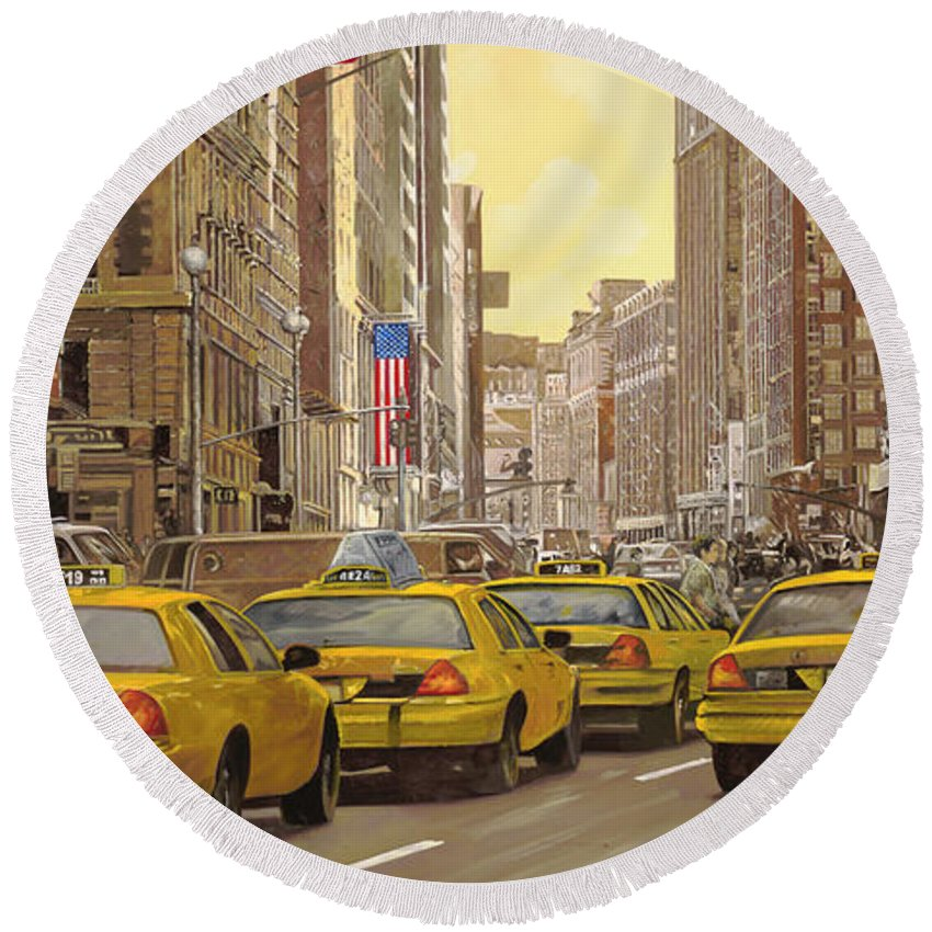 New York Round Beach Towel featuring the painting yellow taxi in NYC by Guido Borelli