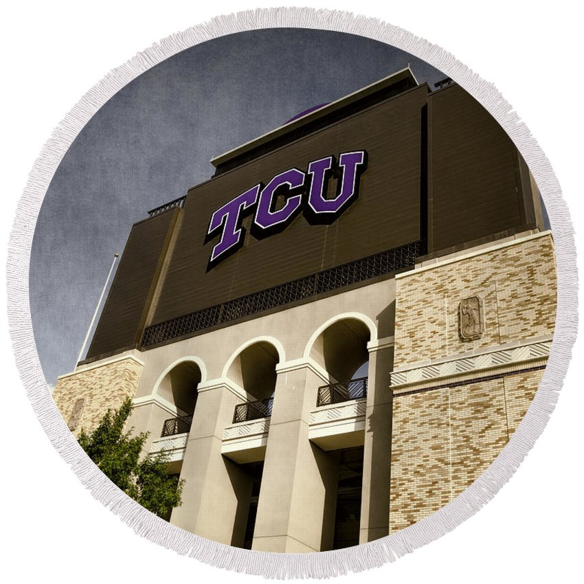 Joan Carroll Round Beach Towel featuring the photograph Tcu Stadium Entrance by Joan Carroll