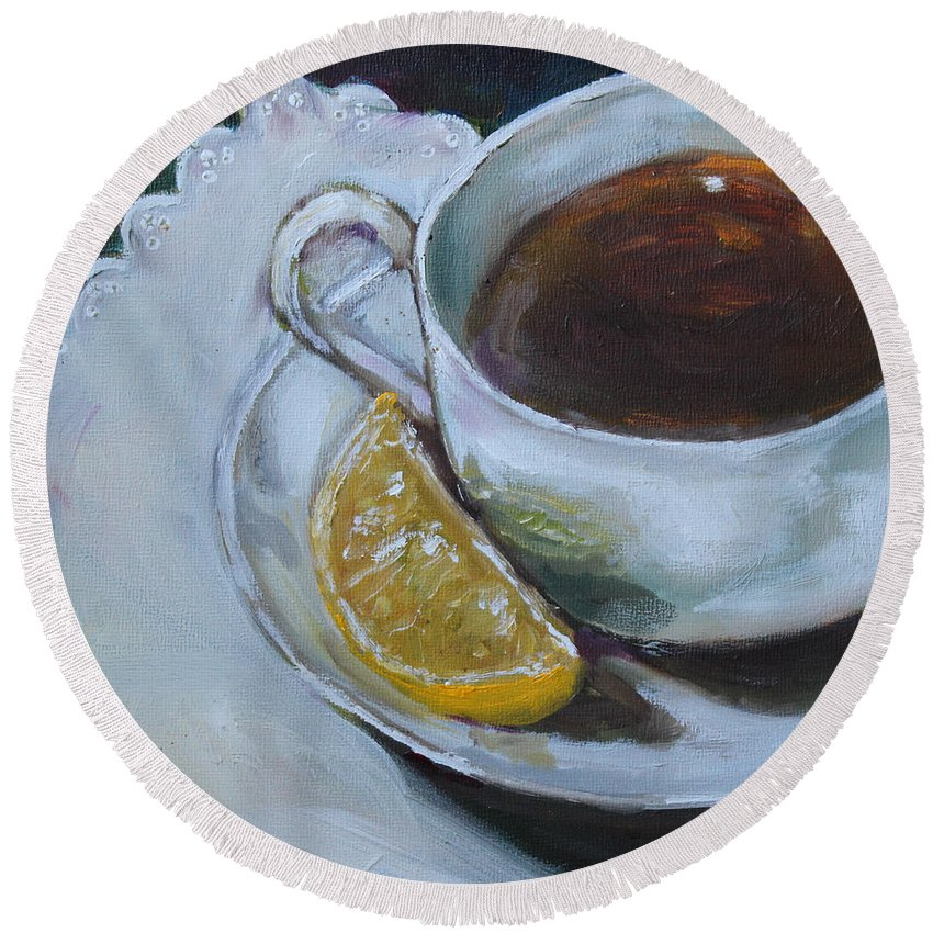 Tea Round Beach Towel featuring the painting Tea And Lemon by Kristine Kainer