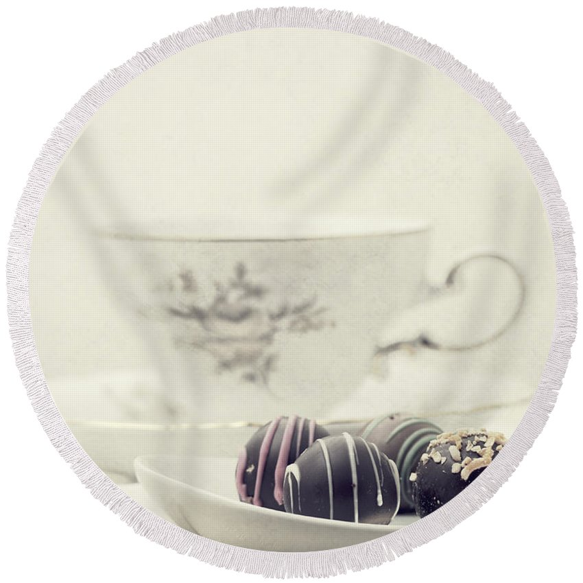 Chocolates Round Beach Towel featuring the photograph Tea Break by Edward Fielding