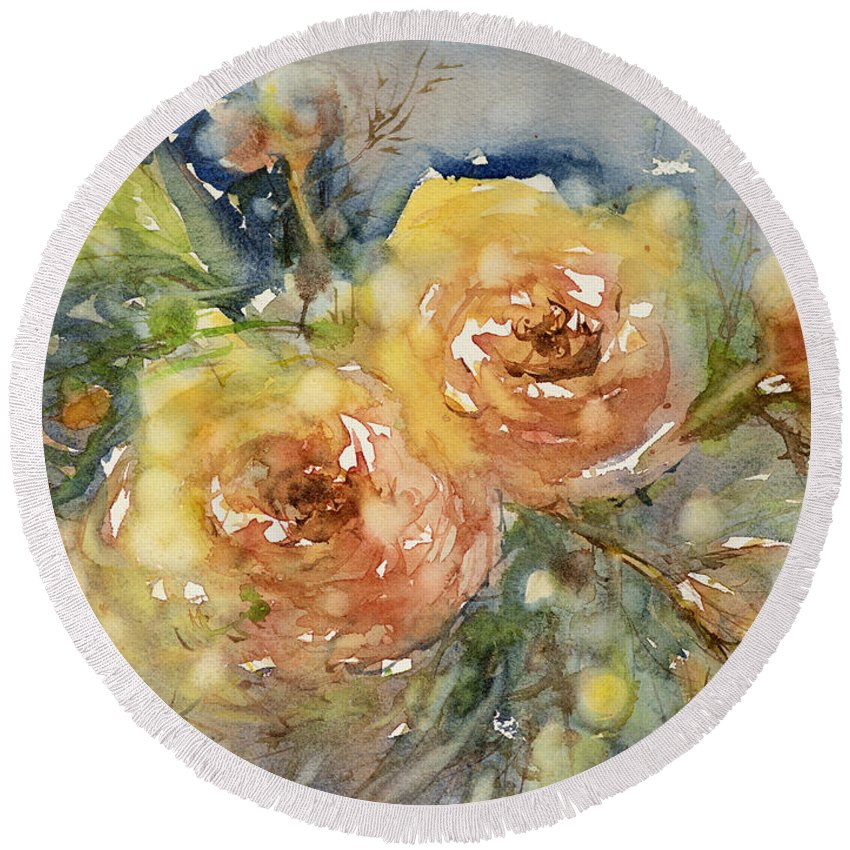 Rose Round Beach Towel featuring the painting Tea Roses by Judith Levins