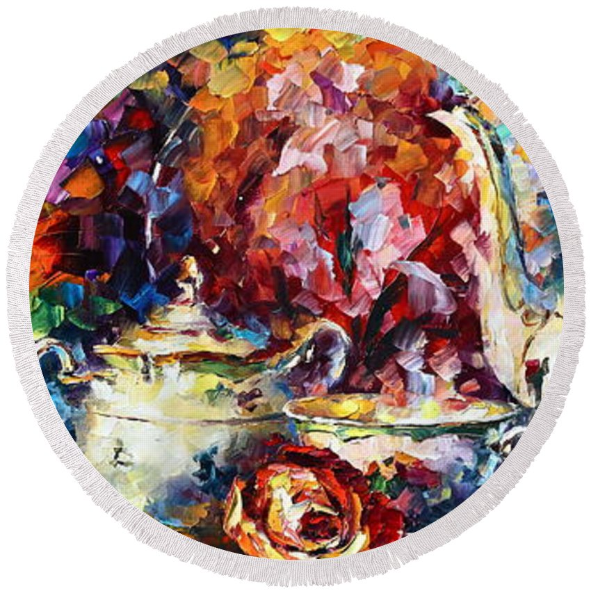 Afremov Round Beach Towel featuring the painting Tea Time 2 by Leonid Afremov