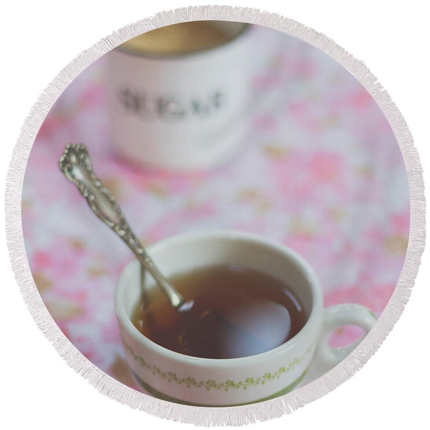 Tea Round Beach Towel featuring the photograph Tea Time In Pink by Bethany Helzer