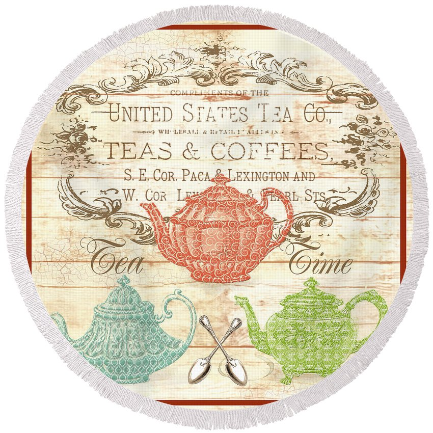 Digital Art Round Beach Towel featuring the digital art Teas And Coffees Sign by Jean Plout