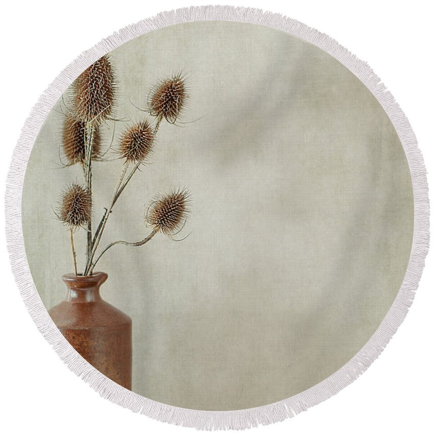 Still Life Round Beach Towel featuring the photograph Teasels In Stone Jar by Jacqueline Moore