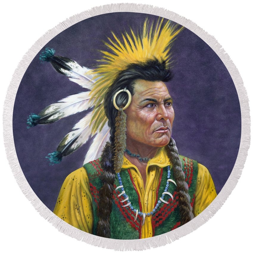 Tecumseh Round Beach Towel featuring the painting Tecumseh by Gregory Perillo