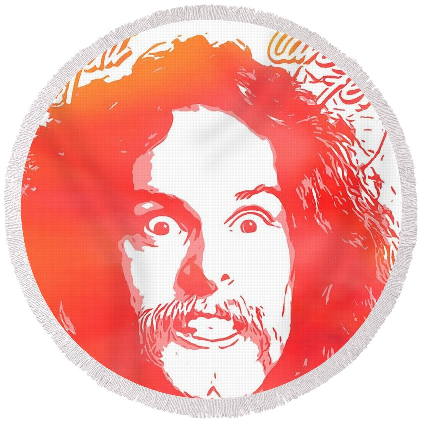 Ted Nugent Cat Scratch Fever Round Beach Towel featuring the digital art Ted Nugent Cat Scratch Fever by Dan Sproul