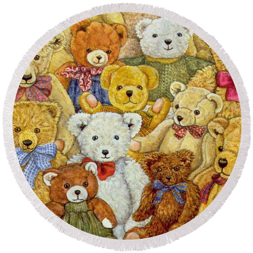 Teddy Bear; Bow; Teddies Round Beach Towel featuring the painting Ted Patch by Ditz