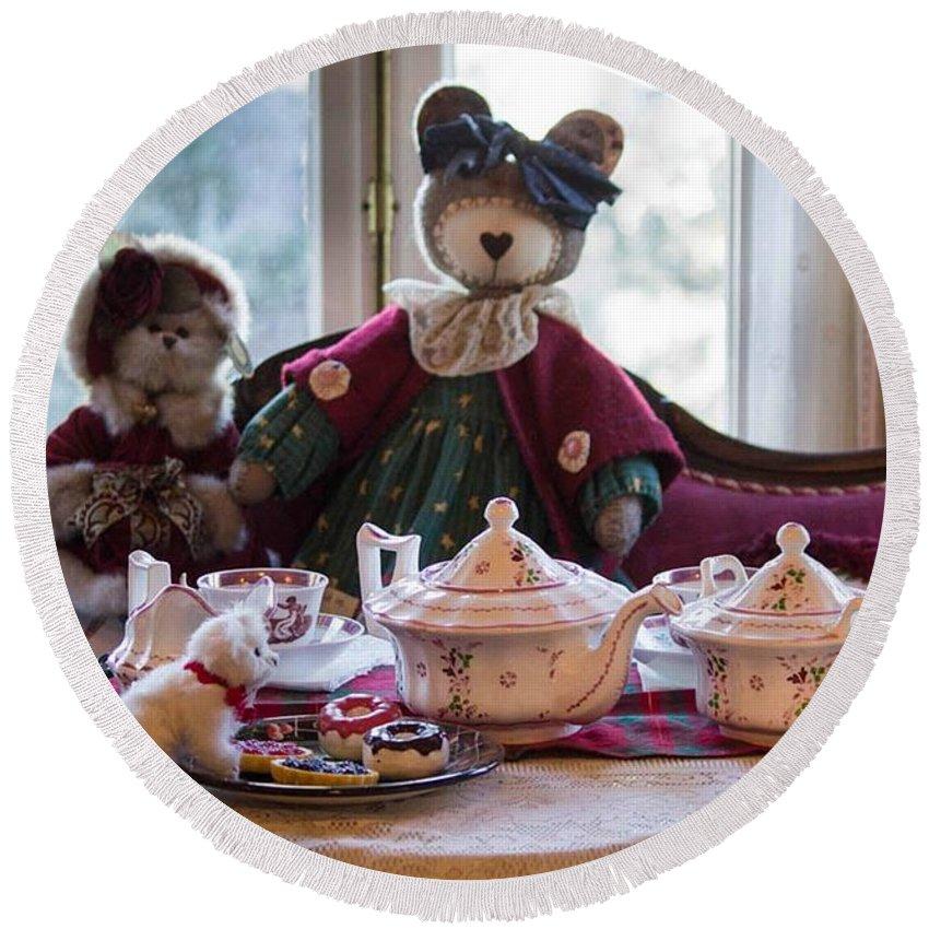 Teddy Bear Round Beach Towel featuring the photograph Teddy Bear Tea Party by Patricia Babbitt