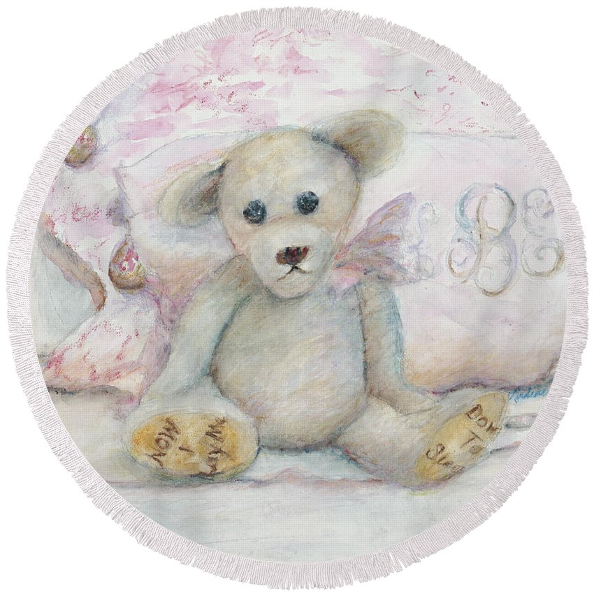 Teddy Bear Round Beach Towel featuring the painting Teddy Friend by Nadine Rippelmeyer