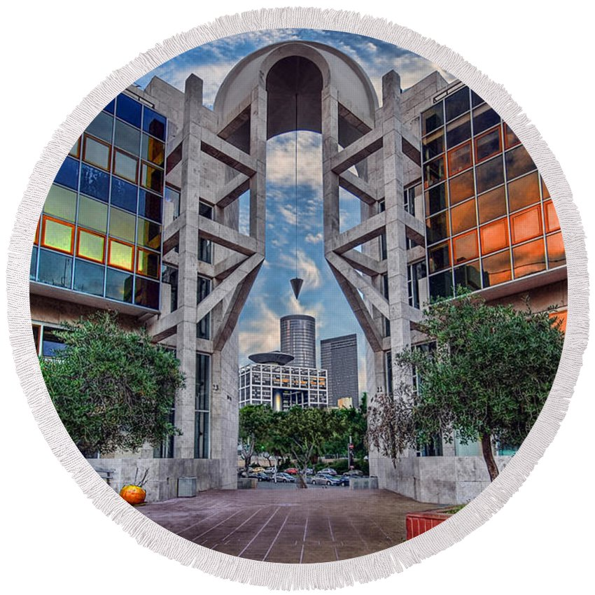 Israel Round Beach Towel featuring the photograph Tel Aviv Performing Arts Center by Ronsho