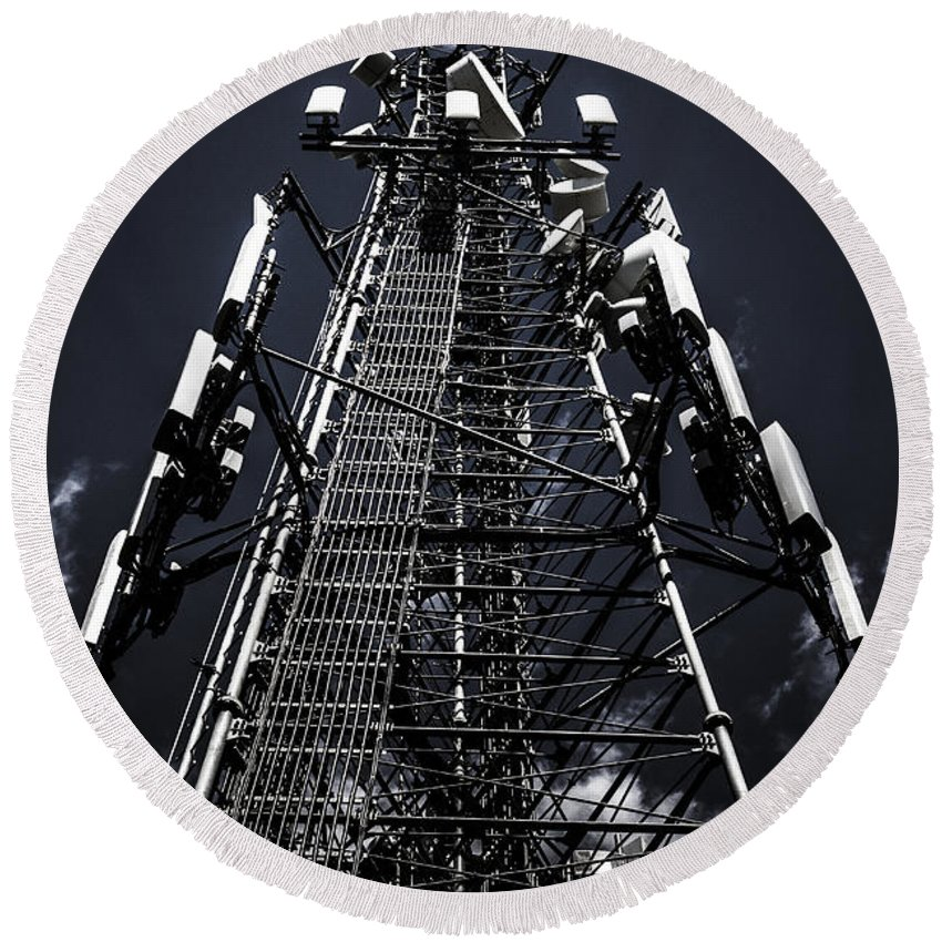Cell Phone Tower Photographs Round Beach Towels