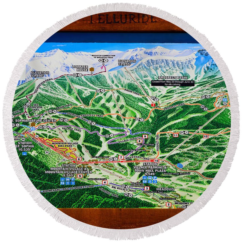 Telluride Colorado Round Beach Towel featuring the photograph Telluride Ski Map Detail by David Lee Thompson
