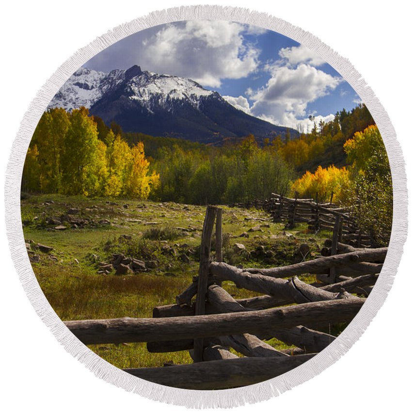 Colorado Round Beach Towel featuring the photograph Teluride by Jeff Shumaker