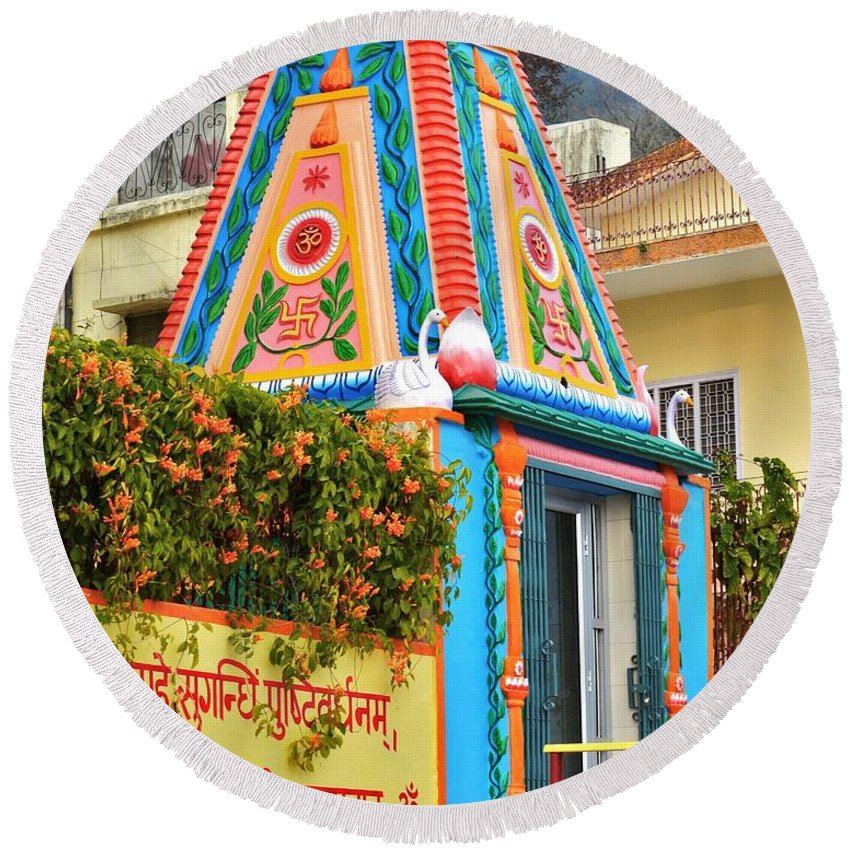 Temple Round Beach Towel featuring the photograph Colorful Temple - Rishikesh India by Kim Bemis
