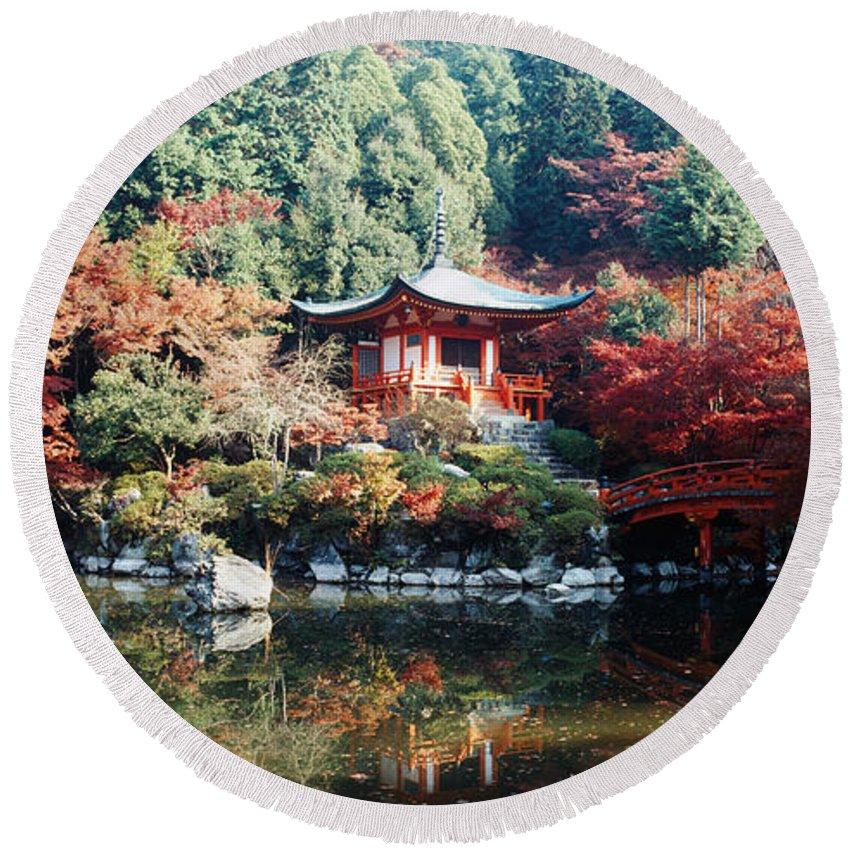 Photography Round Beach Towel featuring the photograph Temple Behind A Pond, Daigo-ji Temple by Panoramic Images