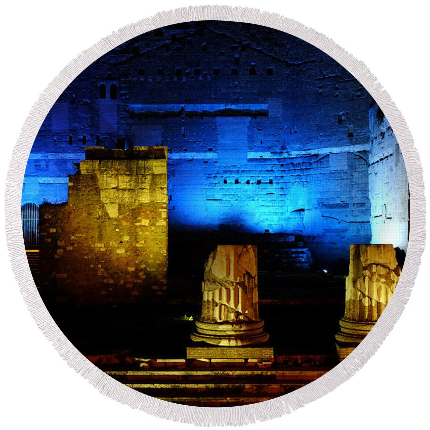 Rome Round Beach Towel featuring the photograph Temple Of Mars Ultor by Fabrizio Troiani