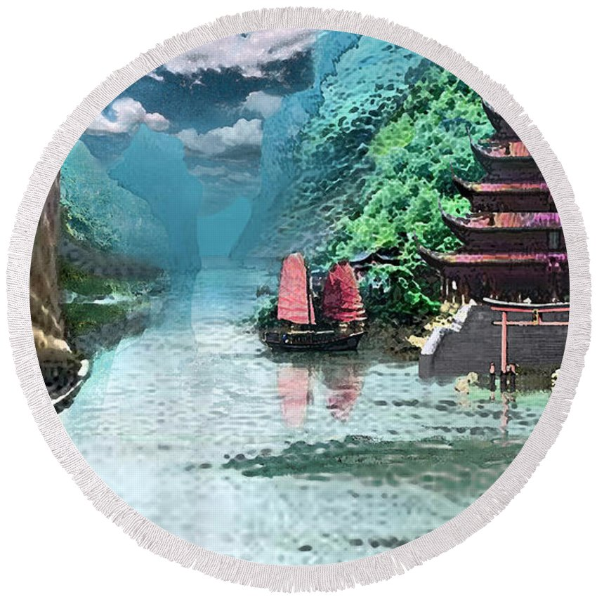 Landscape Round Beach Towel featuring the digital art Temple on the Yangzte by Steve Karol