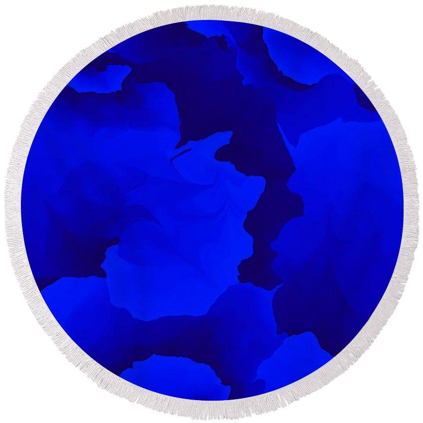 Fine Art Round Beach Towel featuring the digital art Ten Minute Floral In Blue 122612 by David Lane