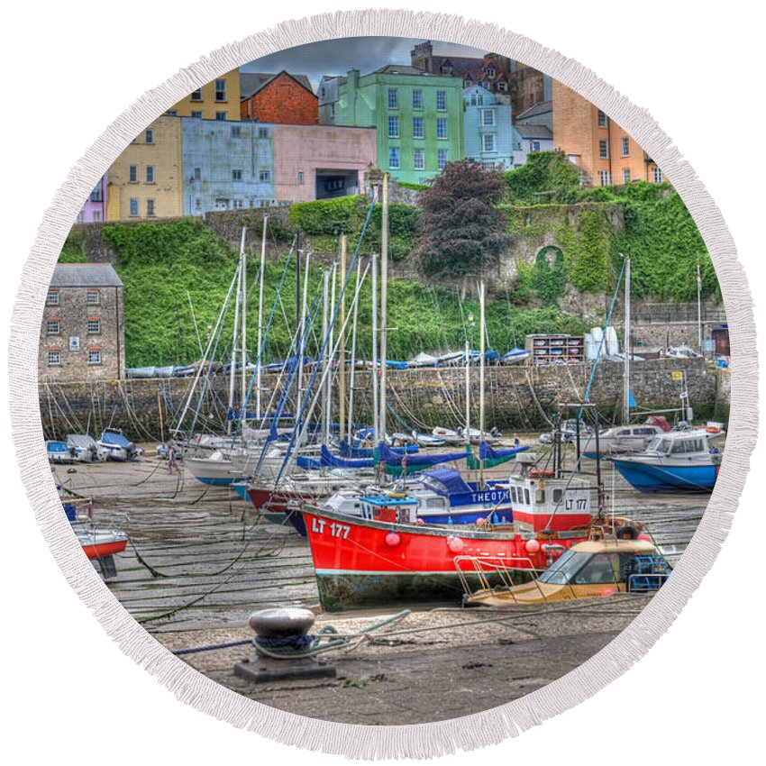 Tenby Harbour Round Beach Towel featuring the photograph Tenby Harbour In Summer 4 by Steve Purnell