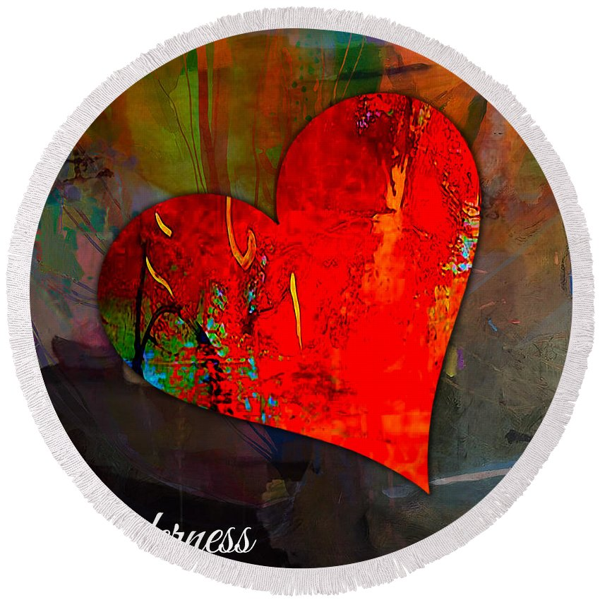 Heart Mixed Media Round Beach Towel featuring the mixed media Tenderness by Marvin Blaine