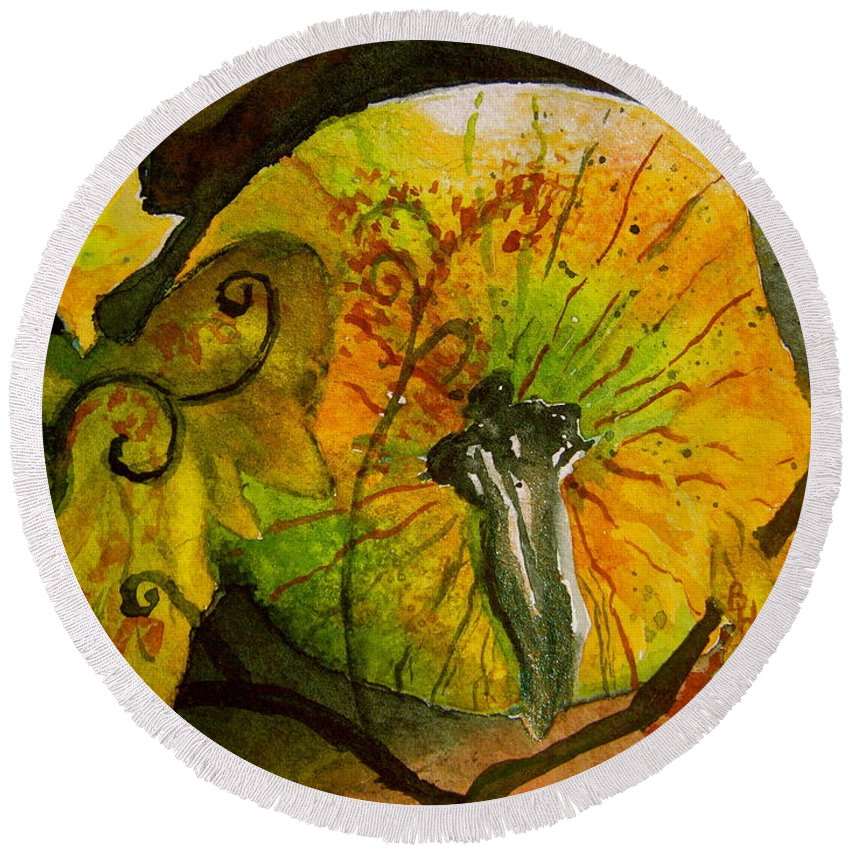Pumpkin Round Beach Towel featuring the painting Tendrils by Beverley Harper Tinsley