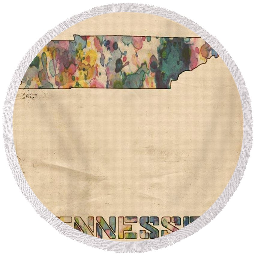Tennessee Round Beach Towel featuring the painting Tennessee Map Vintage Watercolor by Florian Rodarte