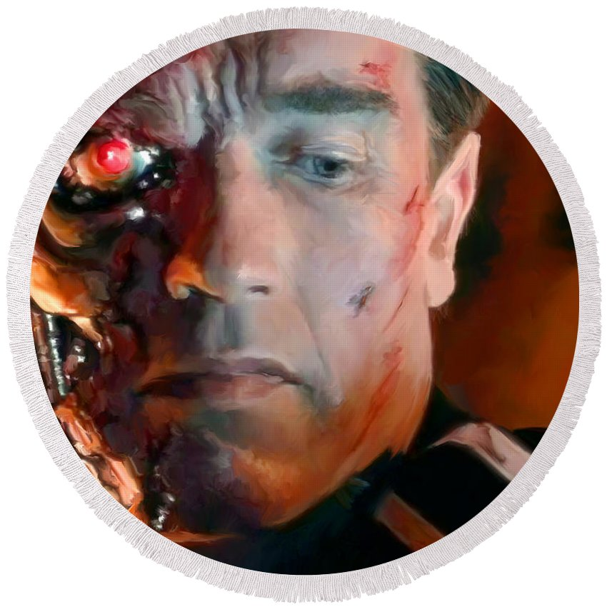 T-800 Round Beach Towel featuring the painting Terminator by Paul Tagliamonte