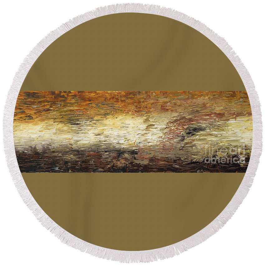Terra Round Beach Towel featuring the painting Terra by Nadine Rippelmeyer