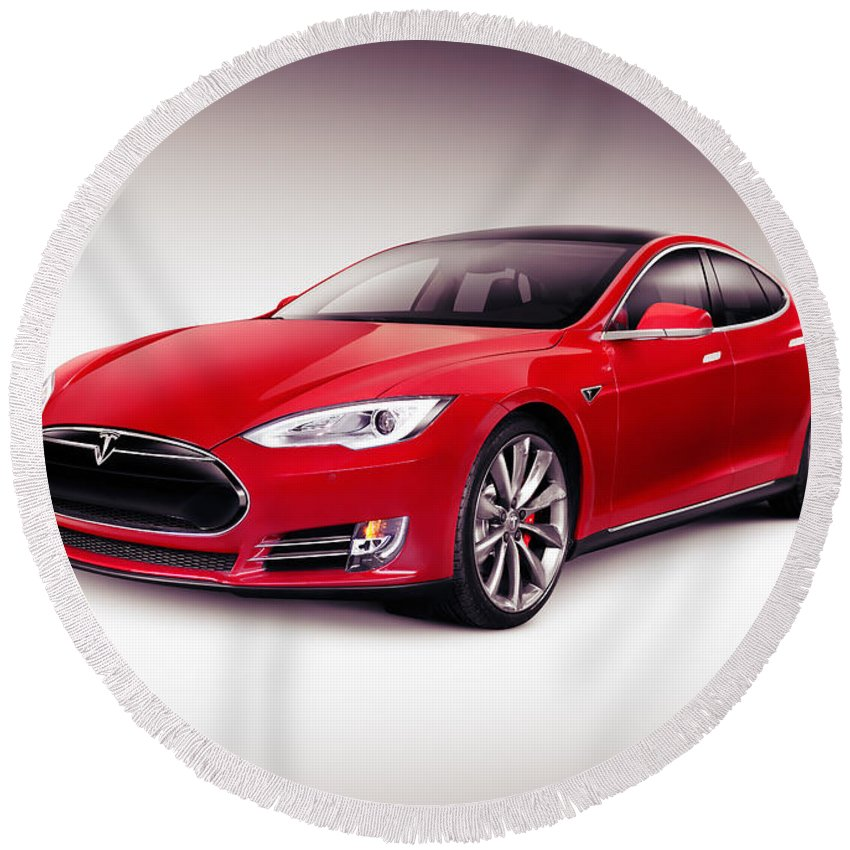 Tesla Round Beach Towel featuring the photograph Tesla Model S 2014 Red Luxury Sedan Electric Car by Maxim Images Prints