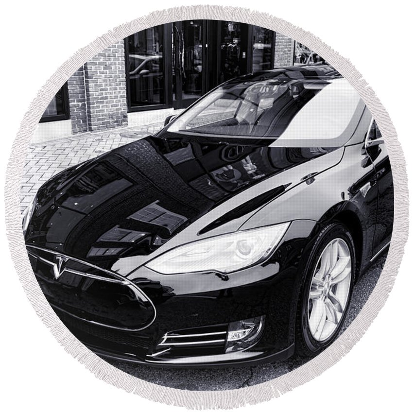 Tesla Round Beach Towel featuring the photograph Tesla Model S by Olivier Le Queinec