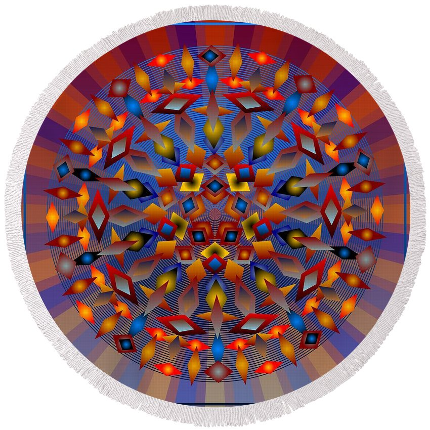 Digital Round Beach Towel featuring the digital art Tesserae 2012 by Kathryn Strick