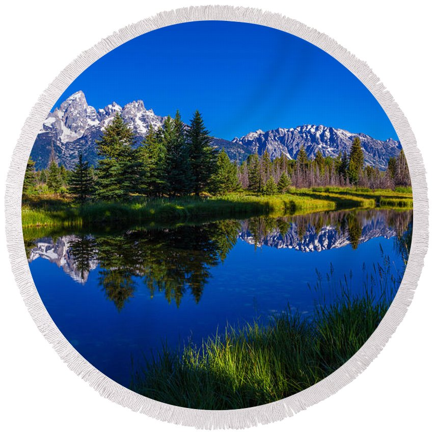 Mountainscape Photographs Round Beach Towels